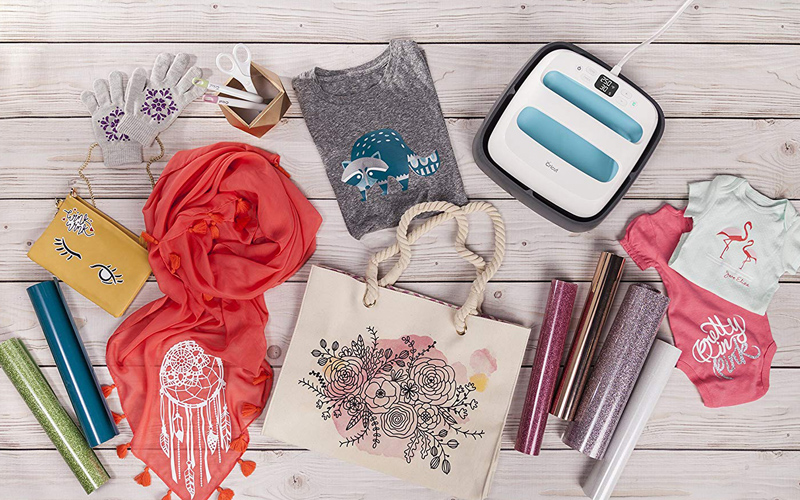 cricut easy press with paper and tshirt