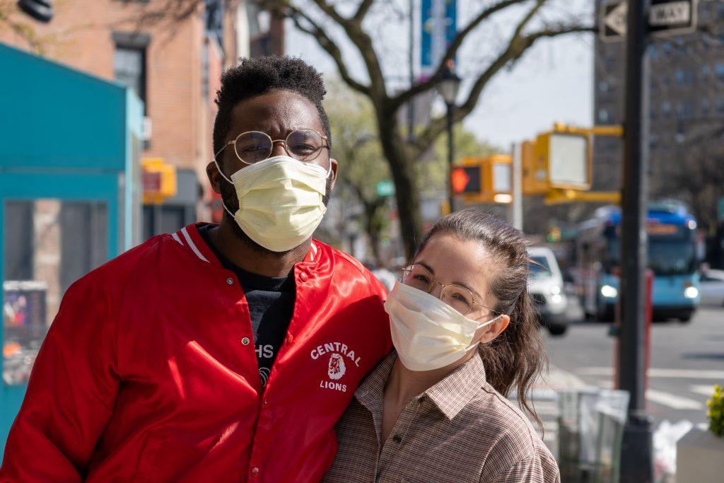 Man Woman Masks on Street